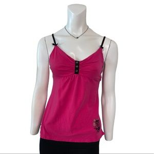 Betsey Johnson University Pink Black Velvet Cami